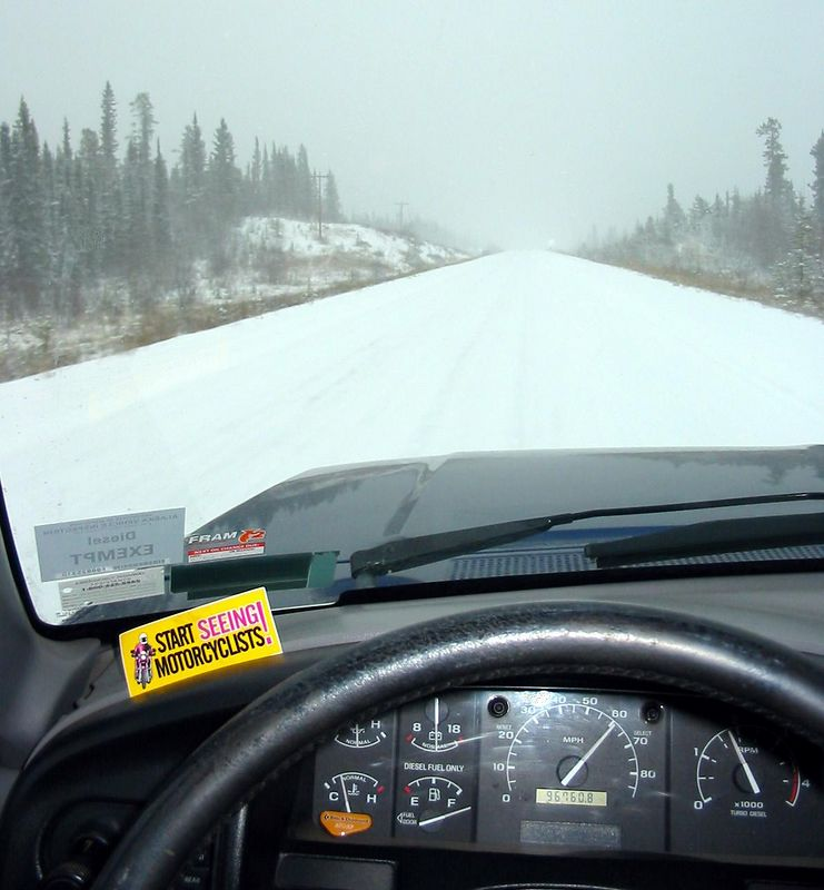 Typical Yukon winter driving conditons.  Note The speedo...