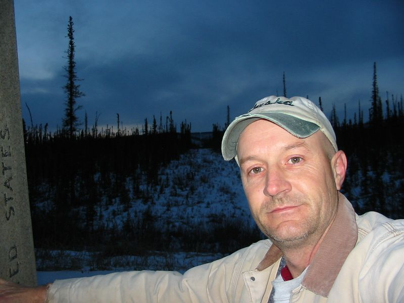 At the Canada/US border on the Alaska Highway.  It's the cleared path behind me.
