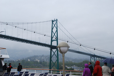 Passing under the Lion's Gate Bridge