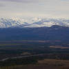 View from the hill to the north, the oil pipeline, and the Alaska range