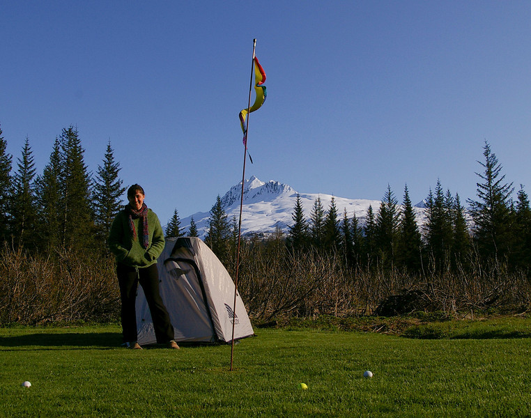 Camping on a golf green.