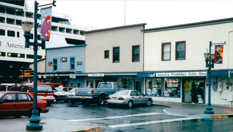 Cruise Shipped Docked in City of Juneau, Alaska<br /> Alaska Inside Passage Cruise - Seward, Alaska to Vancouver, Canada - Holland America Cruise Lines  - May 17-24, 1998