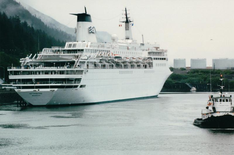 Our Ship at Juneau, Alaska<br /> Alaska Inside Passage Cruise - Seward, Alaska to Vancouver, Canada - Holland America Cruise Lines  - May 17-24, 1998