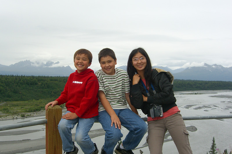 The gang at a Denali viewing area.  Alas, the clouds obscured the main mountain.