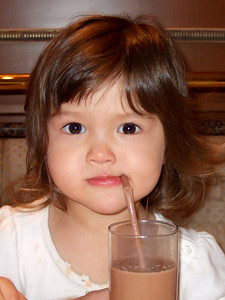 Makena really enjoyed her chocolate milk.