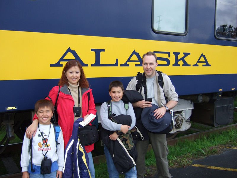 Preparing to board the train for our trip into Anchorage.