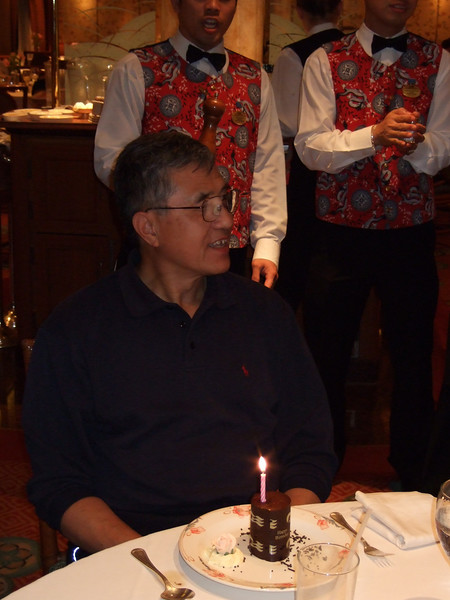 "John celebrated his 75th birthday on the cruise.  The waiters sang a touching song about ""Hope you get some tonight"", which brought tears to our eyes.  Turns out they were talking about presents."
