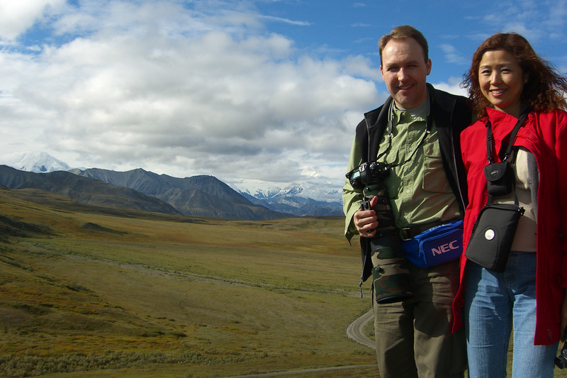 Eva and I pose with the mountain in the background.