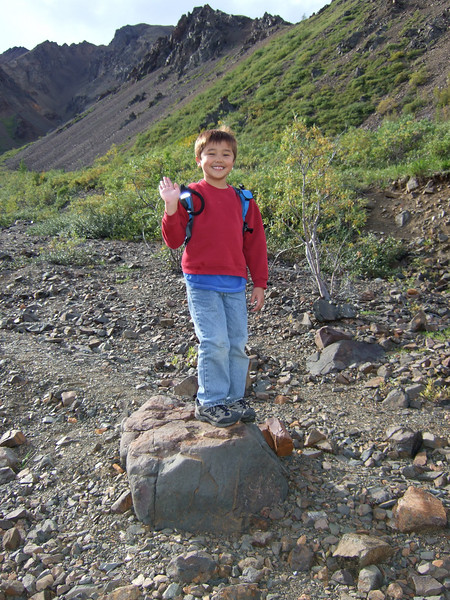 On our way back down the mountain, Ethan's spirits were still high.  That changed after we got back, exhausted.