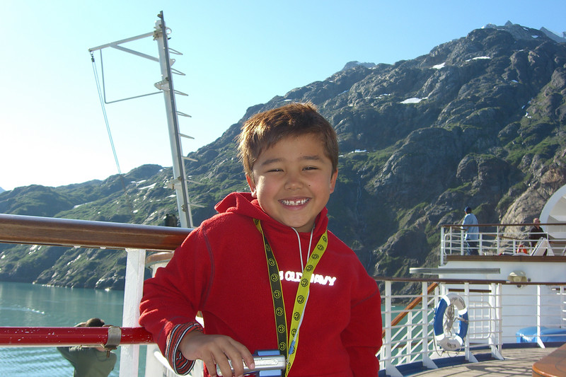 Ethan poses with his trusty camera as we start exploring Glacier Bay.