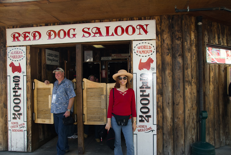 Eva poses for the requisite Red Dog Saloon picture.