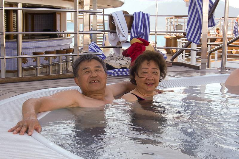 John and Ting Ching really enjoyed the hot tub.