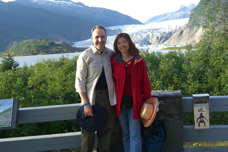 Eva and I pose in front of the Menenhall Glacier.
