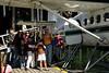 Preparing to board our seaplane:  a DeHaviland Otter.