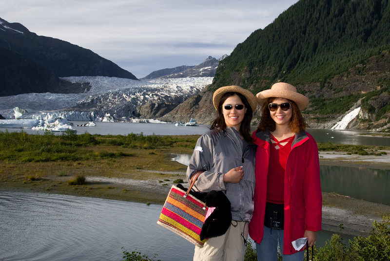 Eva and Ginger enjoy the Mendenhall Glacier.