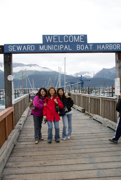 On the pier in Seward, getting ready for our Kenai Fjords boat tour and hurlathon.