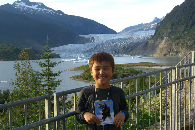At the Mendenhall Glacier gift shop, Ethan bought a set of eagle pictures, thus making this his Best Day Ever.  For a few hours, at least.