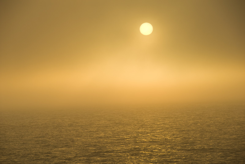 That's the sun, almost blocked by the dense fog.  It got fairly dark shortly after this picture.
