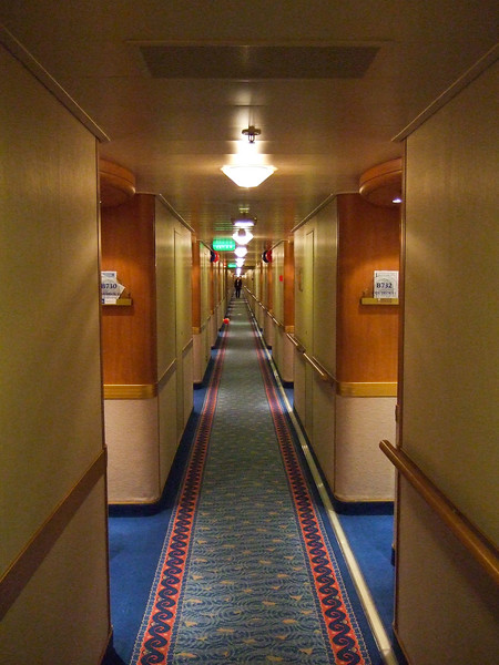 The really long corridors in the ship.  Our room was second to last on the left.