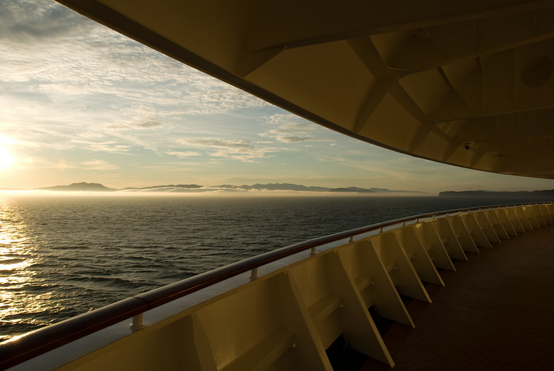 As the sun set, we headed towards a fog bank.  This is a view from the bow of the ship.