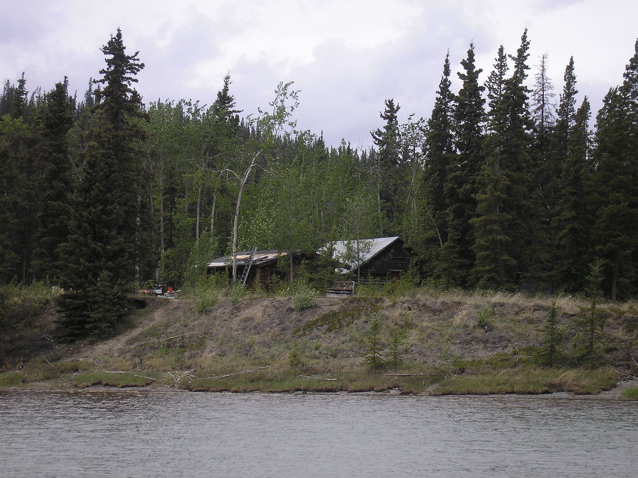 An old trappers cabin on the river.