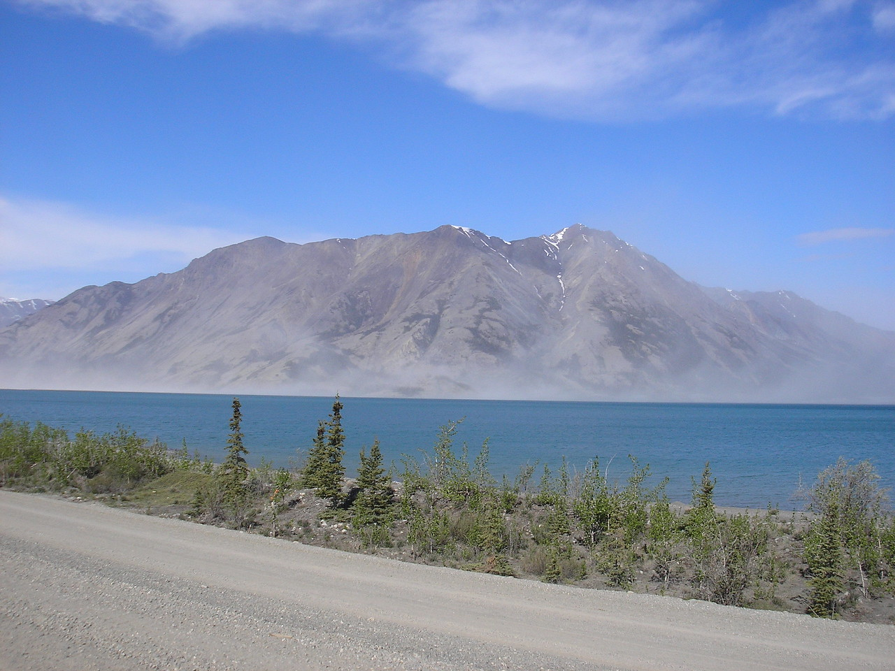This is the beautiful Lake Kluane, Destruction bay is on this lake.  It is called this because a pontoon bridge was destroyed in a storm when they were building the Alaska Highway in 1942.