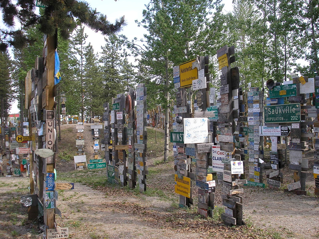 There are thousands of signs on the trail in the Sign Post Forrest.
