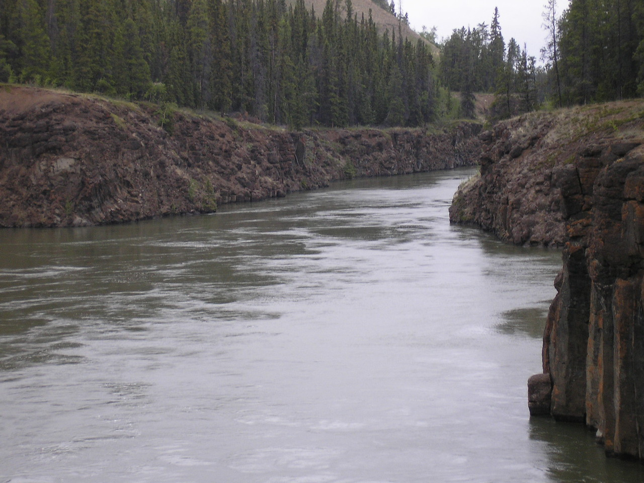 Whitehorse rapids on the Yukon Rive.