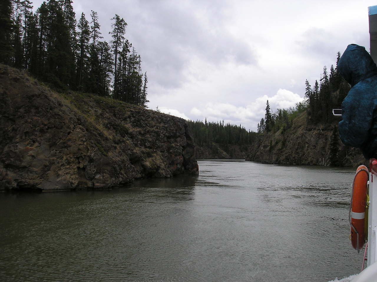 At one time this part of the Yukon River was known for its dangerous rapids, now because of the dam at Whitehorse they are no longer there.