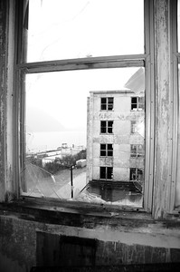 Buckner Building - View through Broken Window - Abandoned - Whittier - Alaska - USA
