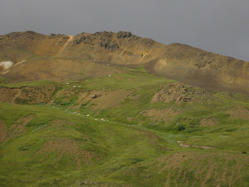 Trail up the hillside at the Eielson Visitor Center.