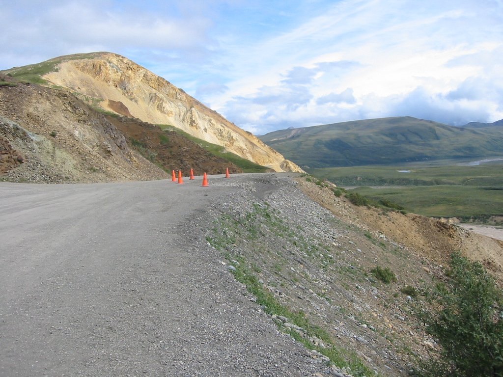 This bit of road at Polychrome Pass slid downhill in the last big earthquake and they've been shoring it up every week since then, but it still sinks.