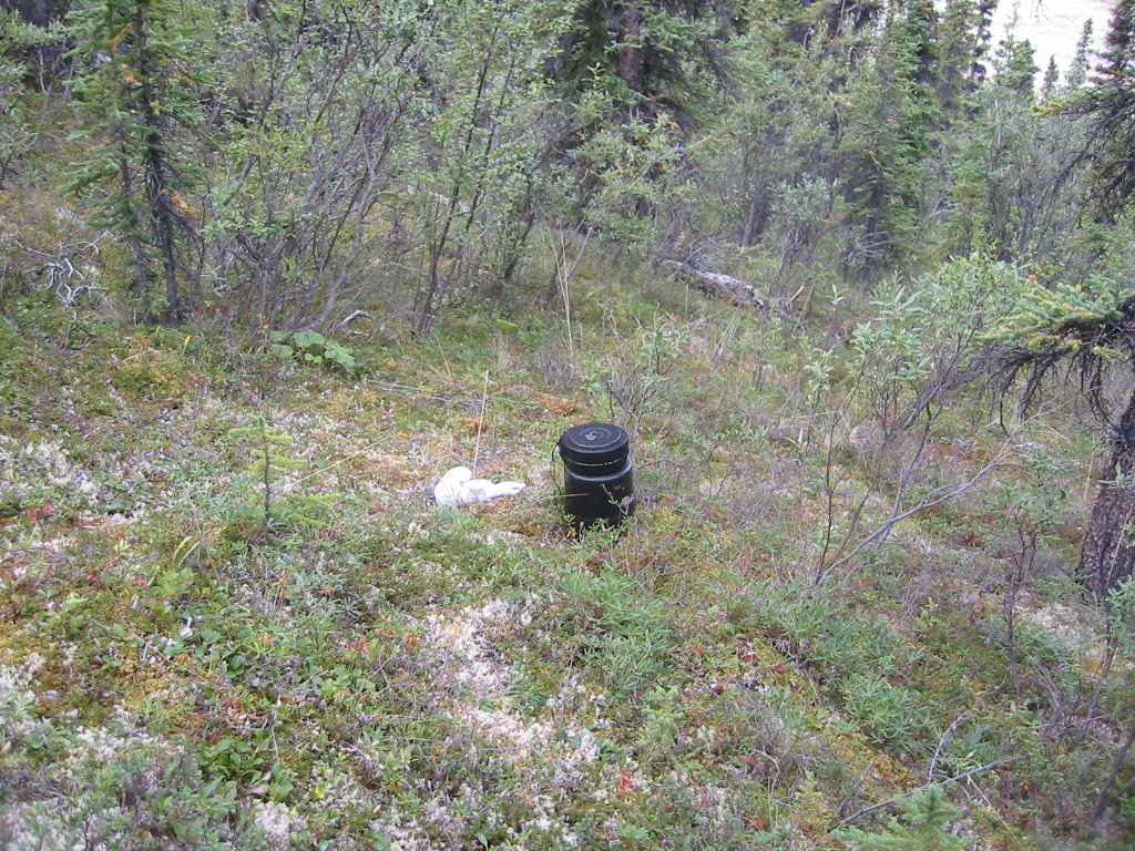 Campers are supposed to store their bear-proof food canisters and cooking gear at least 100 yards from the campsite so bears aren't attracted to the camp by the scent of food.