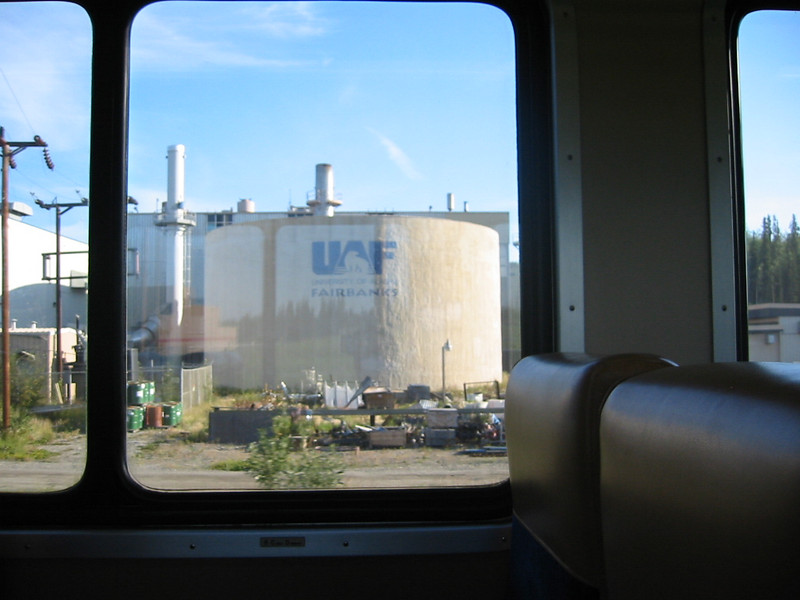 Oil tank at the University of Alaska at Fairbanks, which is completely self-sufficient in water, sewage treatment, and power generation.