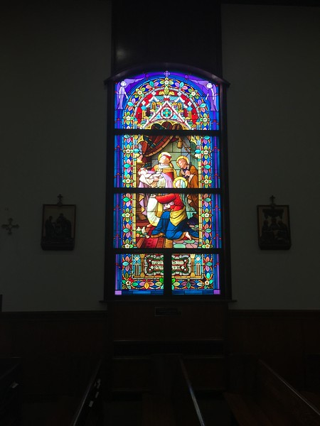 After dinner, we had time to kill, so we visited Holy Name Cathedral in Anchorage, said to be the smallest cathedral in the US. It has nice windows, though, recently installed and salvaged from a closed church somewhere else.