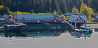 At Icy Point we anchored and used tenders to go ashore.  This is the Hoonah packing warehouse which is now partly shops for tourists.