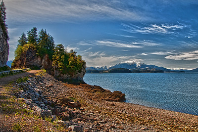 The road to Hoonah passes by this rocky point.