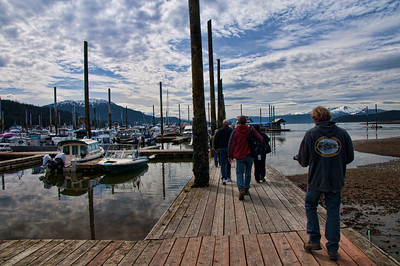 From a harbor in Juneau, we walked to our whale watching excursion.  The naturalist to the right leads us to the boat for the Orca Eco Tour.