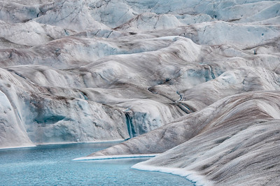 The lake on the glacier... blue water and blue ice.