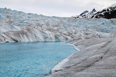 The lake on the top of the glacier.  It's very blue water from the glacier.