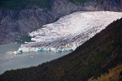 The tip of Mendenhall Glacier as we approached it in a helicopter.