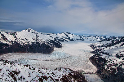Mendenhall Glacier from the top looking down at the glacier.