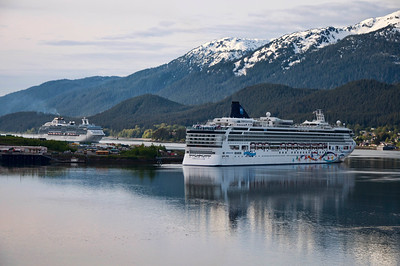 Cruise ships near Juneau's harbor.