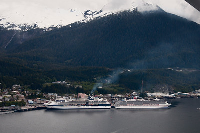 From our float plane,through Taquan Air, a view of the harbor and the cruise ships.