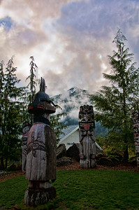 Follow Married Man's Trail or go up the tram to the top of the mountain and you will see these totem poles.