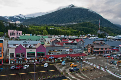 The town of Ketchikan with tourist shops next to the port for cruise ships.