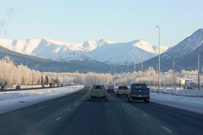 Hoarfrost - Highway - Alaska Winters - Anchorage - Alaska - USA