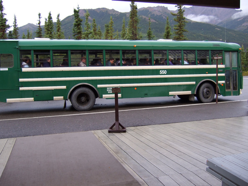 The Denali Park shuttles.  I had been warned they were cramped and uncomfortable, but I thought they were fine.  There is a small shelf above the seats for stuff you bring on board.