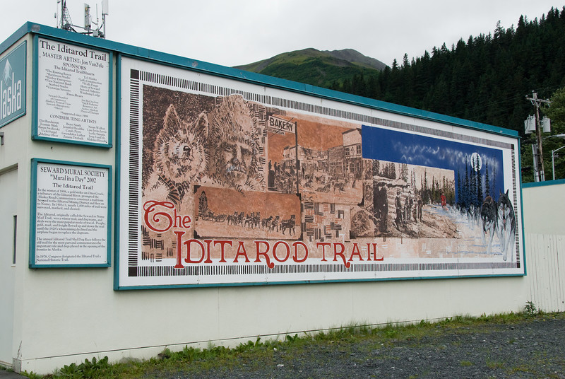 A mural in honor of the Iditarod Trail.