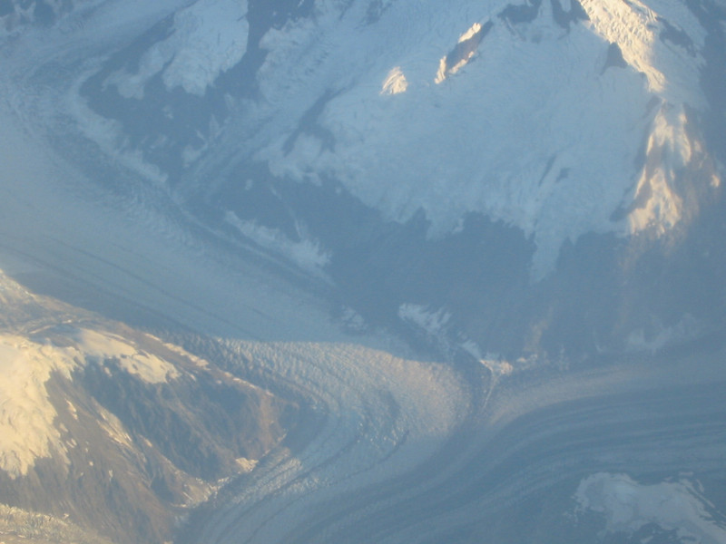 The glaciers' paths here look like rivers joining.